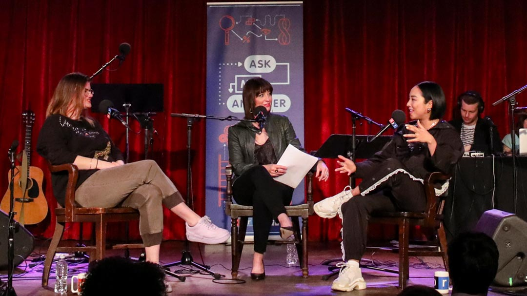 Host Ophira Eisenberg speaks with Greta Lee and Leslye Headland at The Bell House for a live taping of Ask Me Another