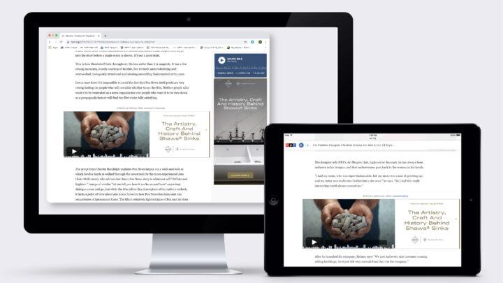 Mockup image of ad display on both a desktop and an Ipad